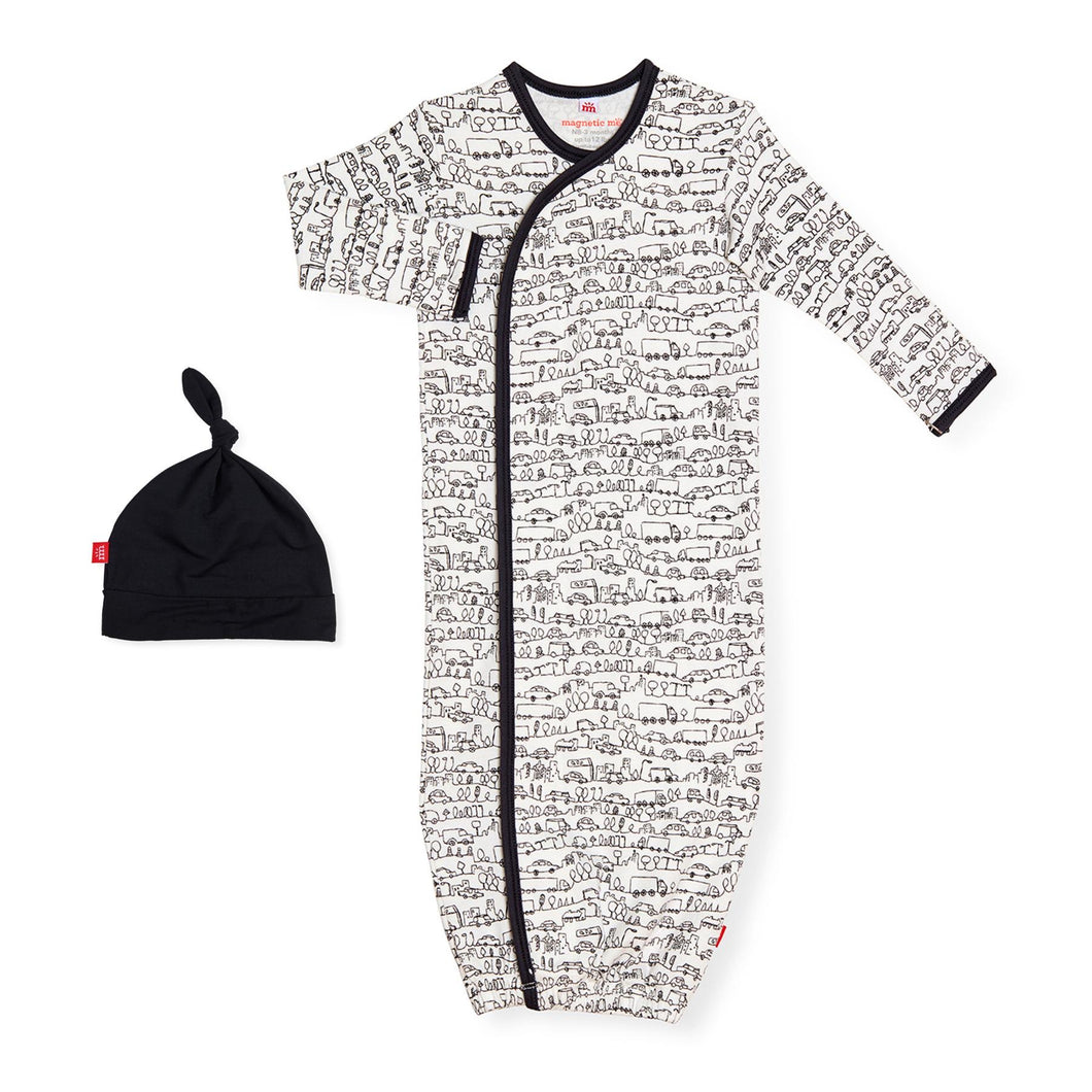 Magnetic Me Organic Cotton Gown + Hat- Going Places