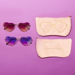 Two' Company Heart Sunglasses w/ Case