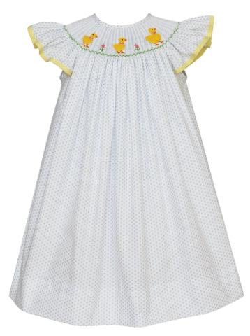 Claire and Charlie duckies white w/blue dots dress