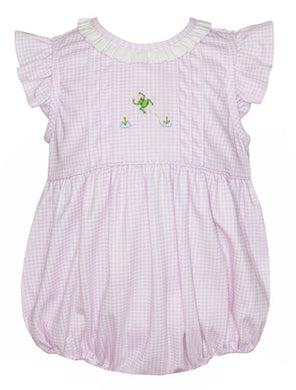 Petit Bébé Frogs Bubble with Ruffle Collar in White with Pink