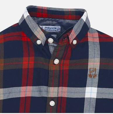 Mayoral Navy/Red Plaid shirt