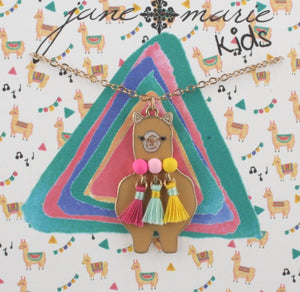 Jane Marie Llama with Poms & Tassels necklace