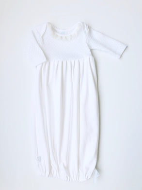 Paty White Lap Shoulder Gown with Ivory Chiffon Ruffle on Neck