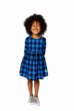 Smiling Button flannel buffalo check Winnie dress