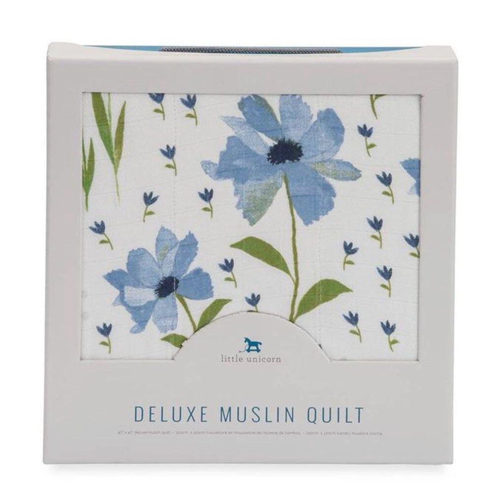 Little Unicorn Deluxe Muslin Quilt- Blue Windflower