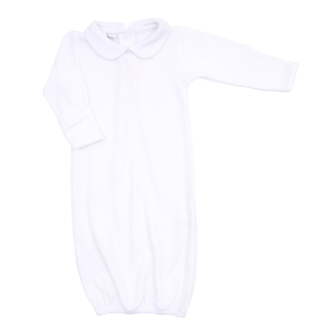 Magnolia Baby So blessed Embroidered Collared Gown-White
