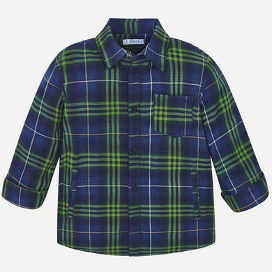 Mayoral Green/Navy Plaid Shirt Jacket