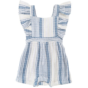 MiMi and Maggie Penelolpe Ruffle Apron Front Romper in Indigo