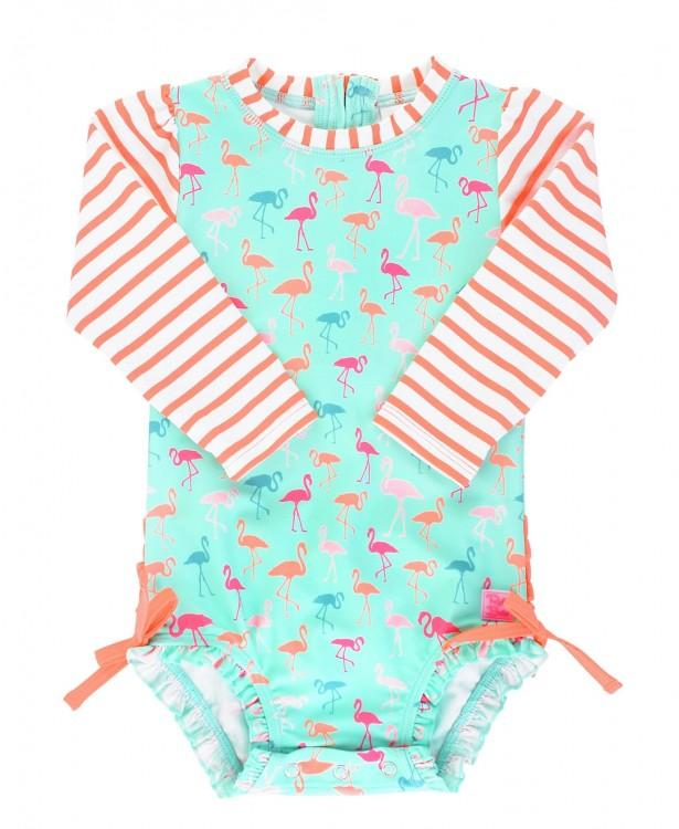 Ruffle Butts Flamingo Beach Stripe One Piece Rash Guard