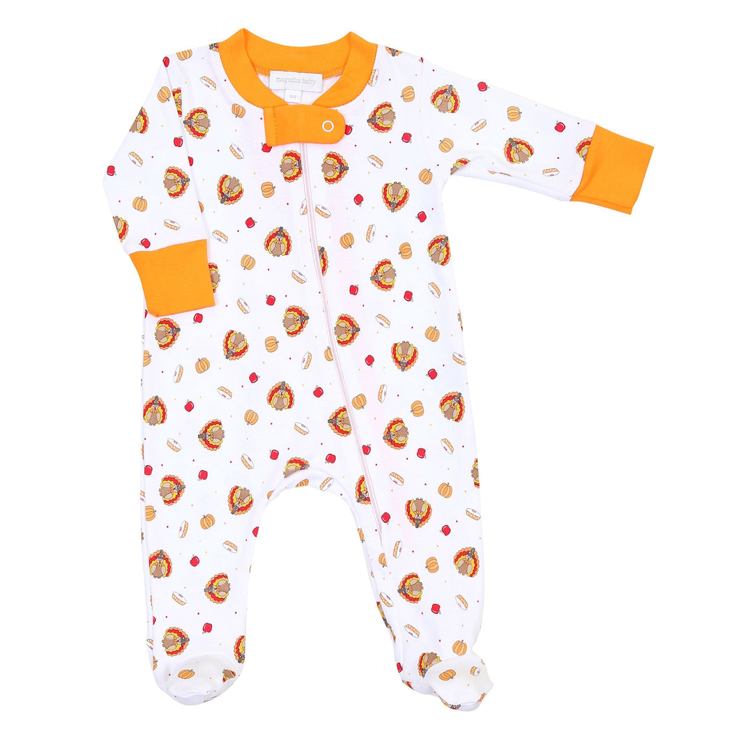 Magnolia Baby Give Thanks Zipped Footie