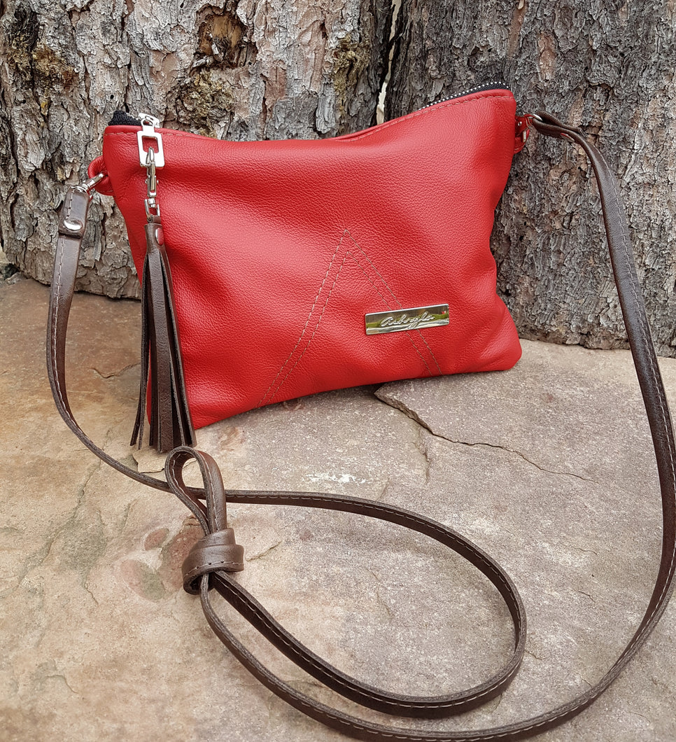 BELLA Leather Cross-body Bag - Red