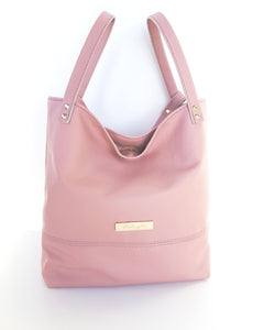 Leather Triple Strap Tote - Pink