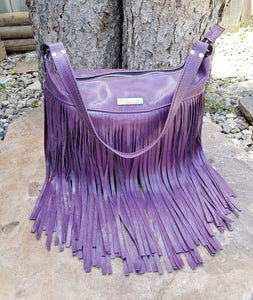 SAGE Leather Fringe Bag - Purple