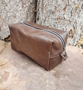 Leather Toiletry Bag - Dark Brown