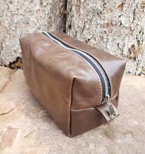 Load image into Gallery viewer, Leather Toiletry Bag - Dark Brown