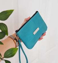 Load image into Gallery viewer, CAMELLIA Leather Wristlet Clutch - Turquoise