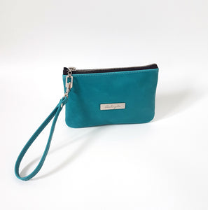CAMELLIA Leather Wristlet Clutch - Turquoise