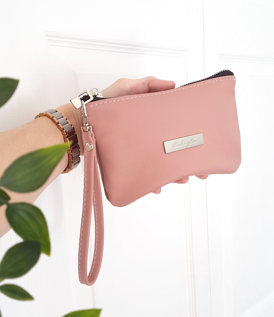 CAMELLIA Leather Wristlet Clutch - Pink