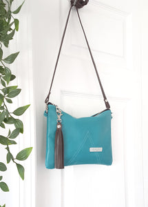 BELLA Leather Cross-body Bag - Turquoise