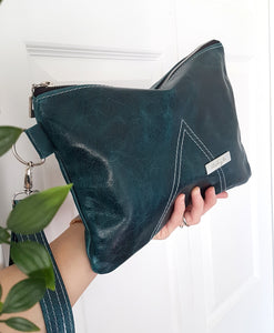 IRIS Leather Clutch - Teal