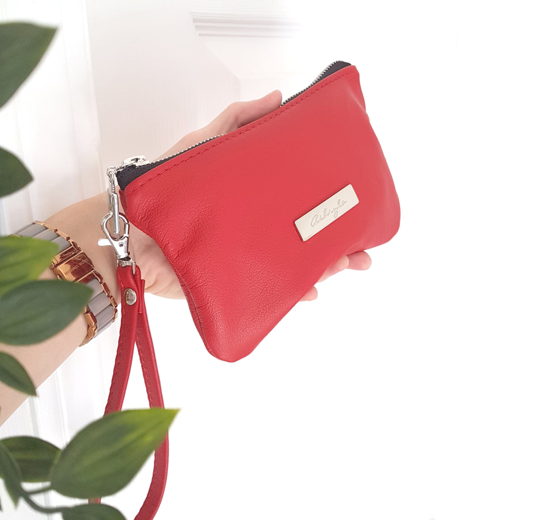 CAMELLIA Leather Wristlet Clutch - Red