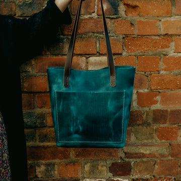 full grain leather tote bag