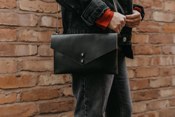 black leather messenger bag for women