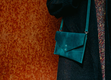 emerald leather crossbody bag