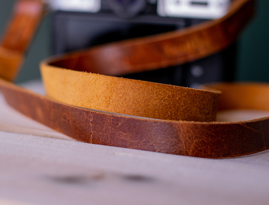 vintage style leather camera strap