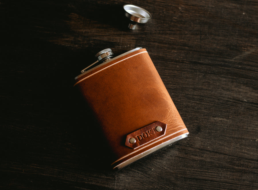 cognac leather flask