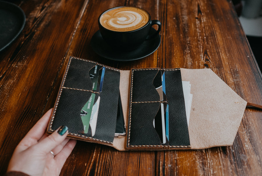 hand stitched leather wallet for women