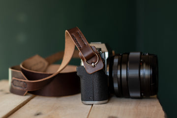 heavy duty leather camera strap