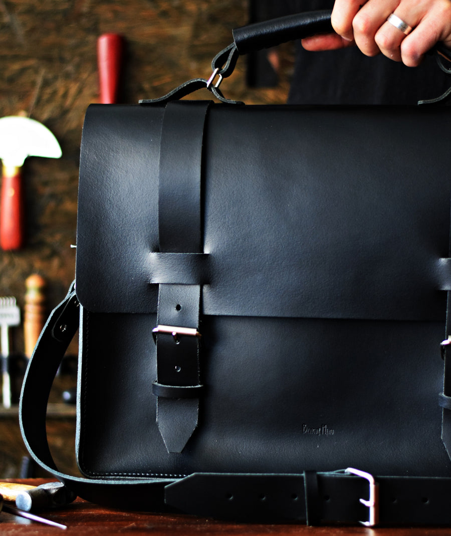 full grain leather messenger bag