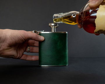 Leather wrapped hip flask - The No. 95 - Green