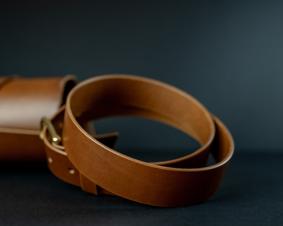 Luxury men's leather belt, The No. 34 - Whiskey