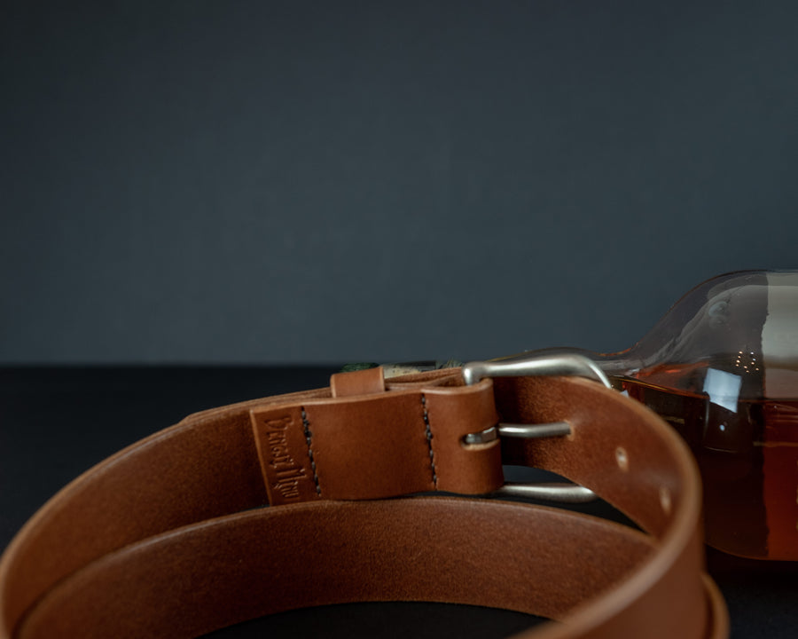 Full grain vegetable tanned leather belt, The No. 34 - Cognac