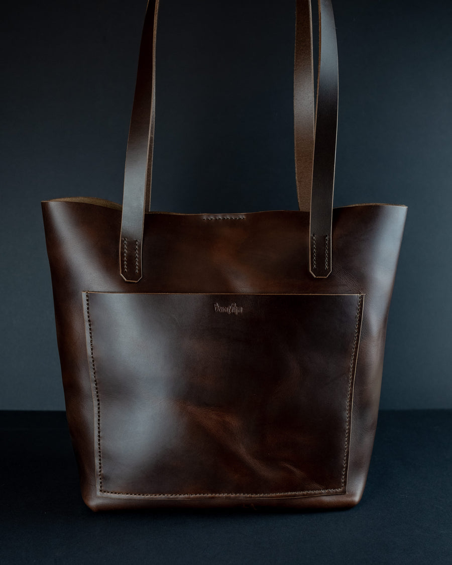 Large leather tote bag with pockets - The No. 86 - dark brown