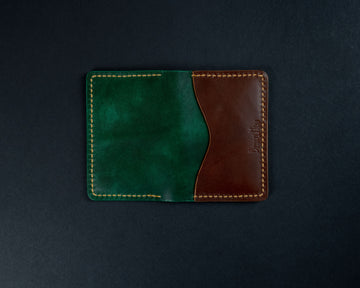 green leather cards wallet