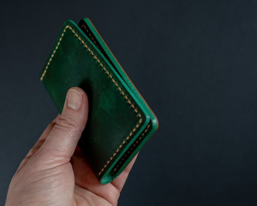 hand burnished leather wallet edges