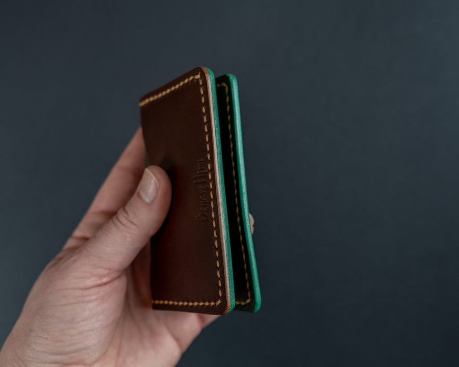 brown leather cards wallet