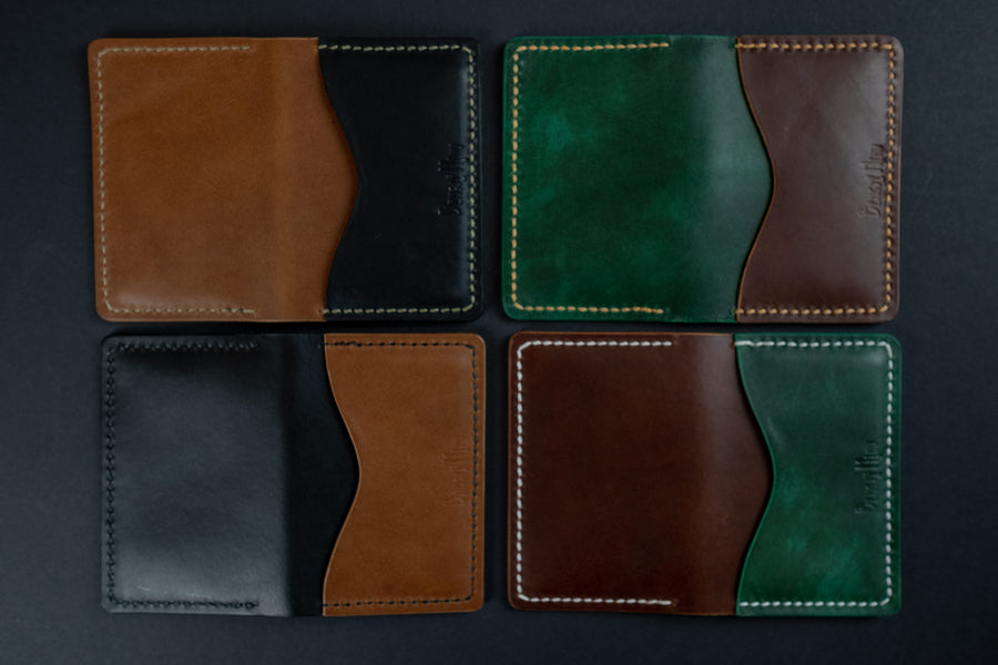 personalised leather cards wallet stitched by hand