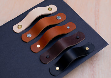 Leather drawer handles, leather pulls, custom size leather handles