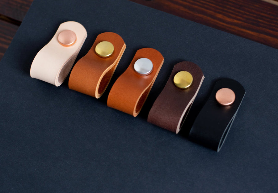Leather drawer pulls, leather pulls, leather handles