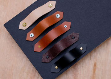 Leather handles, custom size leather drawer handles