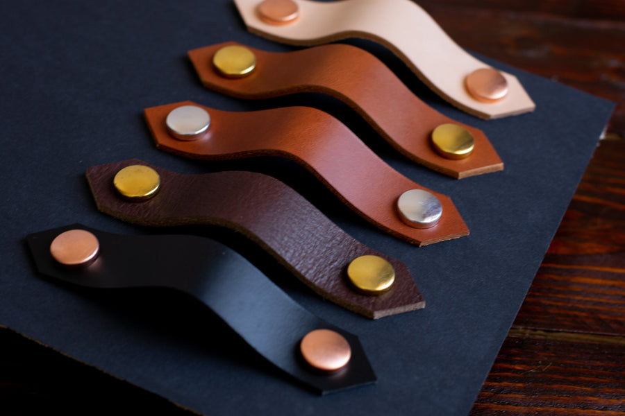 Leather drawer handles, custom size leather handles with copper and brass fixtures