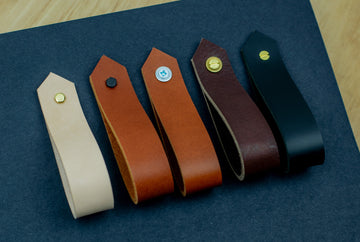 Large leather door pulls, leather wardrobe pulls