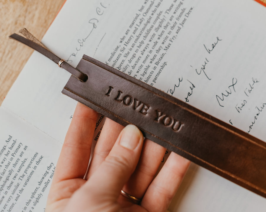 full grain leather bookmark with message