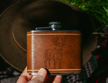 stag print leather flask