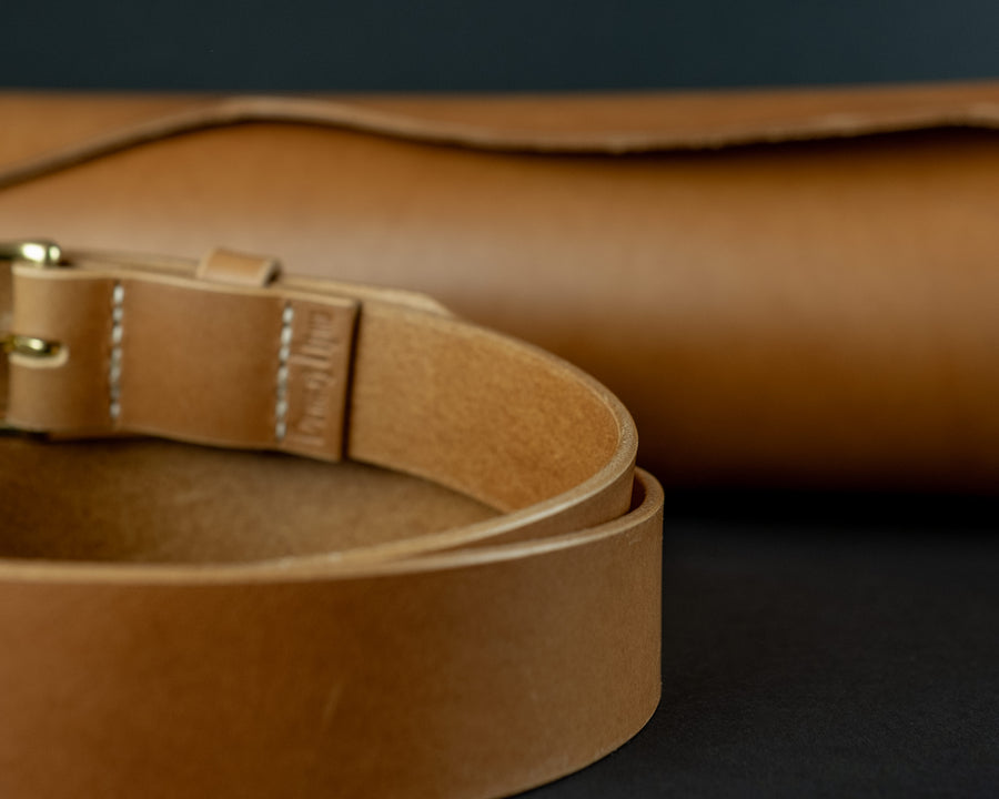 Luxury leather belt for women, The No. 34 - Biscuit
