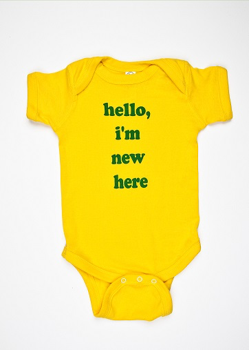 "He Said She Said ""Hello, I'm New Here"" Onesie"
